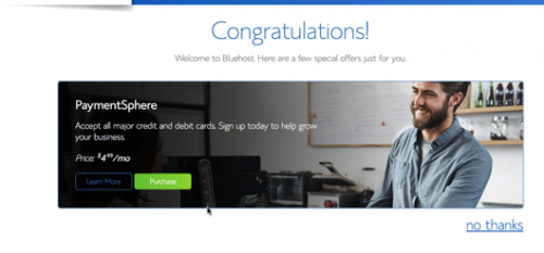 Congratulation bluehost