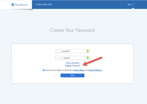 Bluehost - create your password
