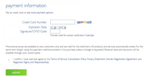 Payment procedure - Blue Host